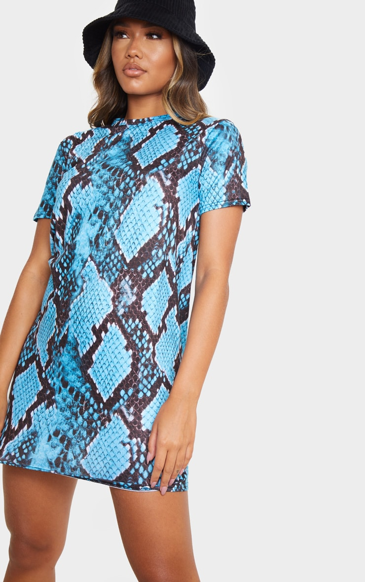 Turquoise Snake Print Short Sleeve T Shirt Dress 4