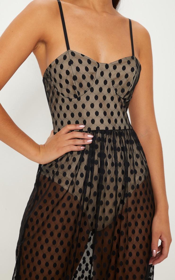 Black Spotty Mesh Sheer Maxi Dress  5