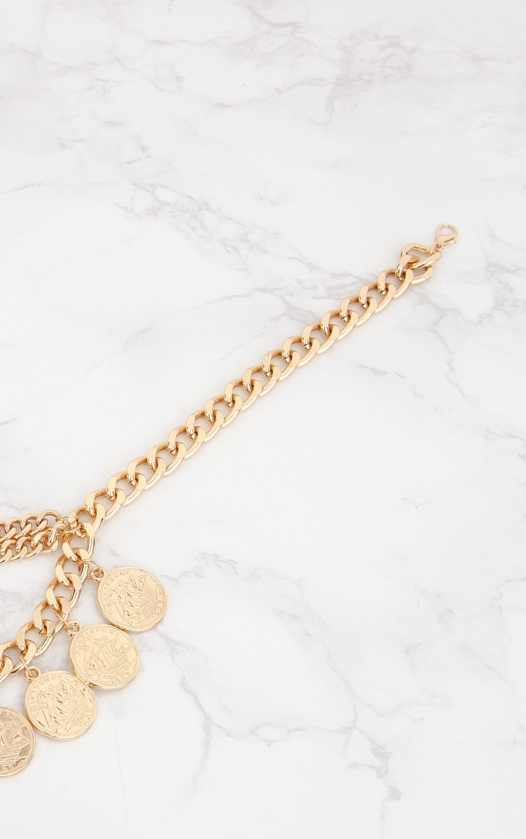 Gold Chain Layered Coin Necklace 3