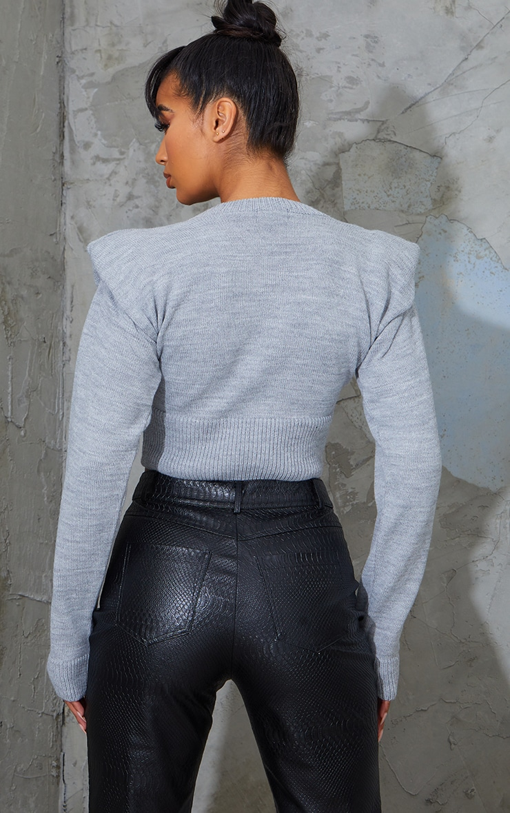 Grey Shoulder Pad Deep Hem Cropped Jumper 2