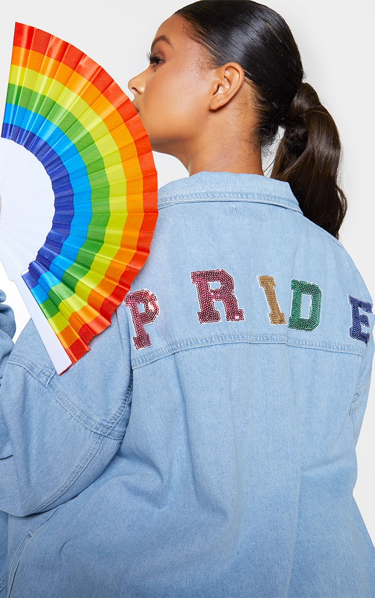 Plus Mid Blue Wash Pride Sequin Embellished Denim Jacket 4