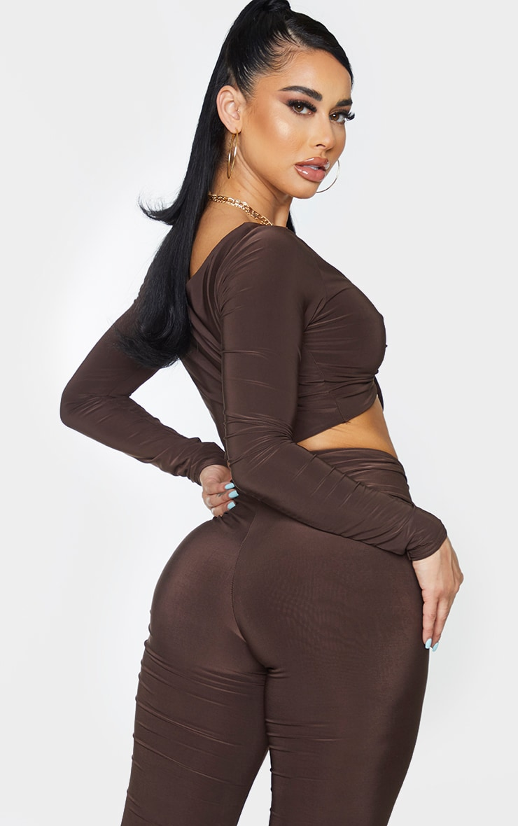 Shape Chocolate Brown Slinky Ruched Front Crop Top 2