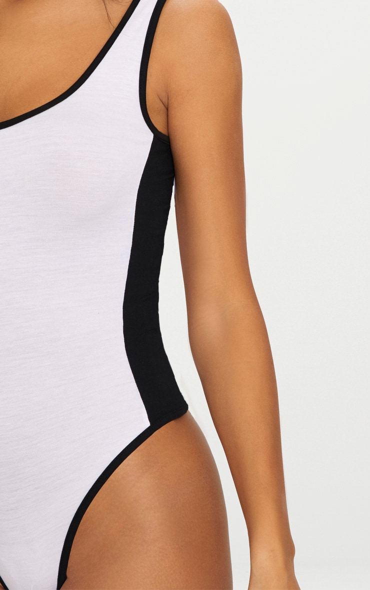 White Contrast Sport Stripe Thong Bodysuit  6