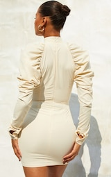 Cream  Woven Ruched Puff Sleeve High Neck Bodycon Dress 2