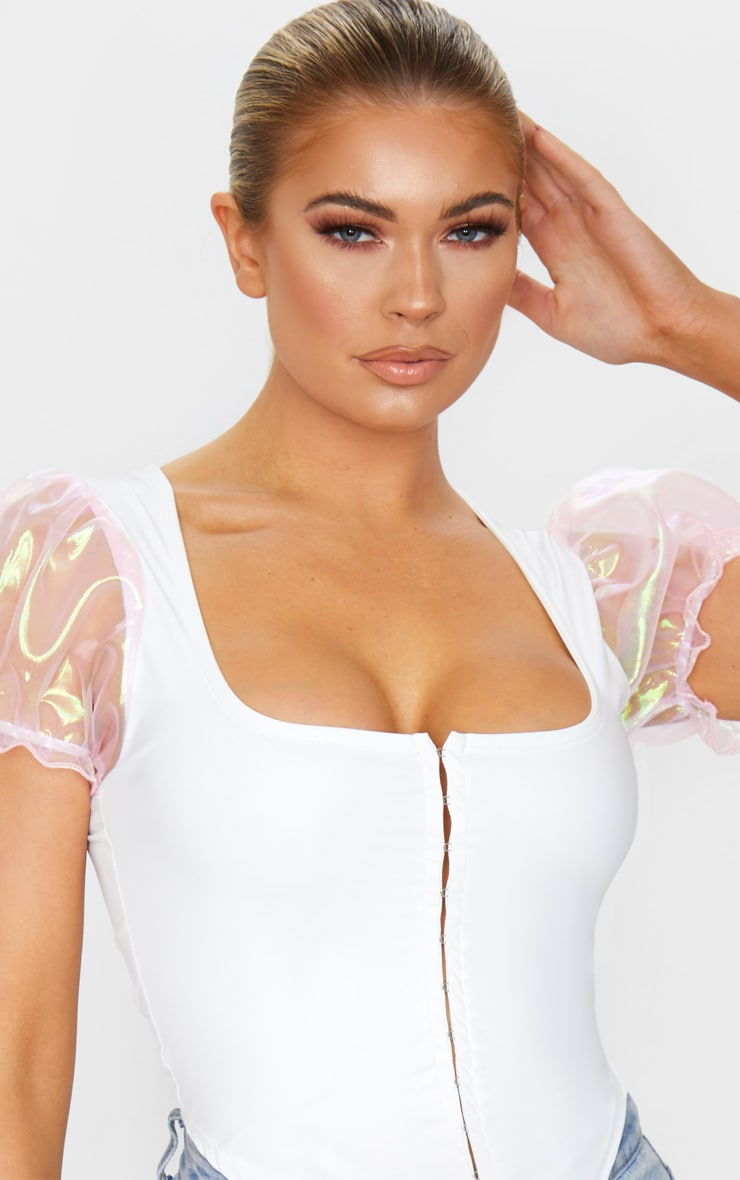 White Hook And Eye Organza Sleeve Crop Top 4