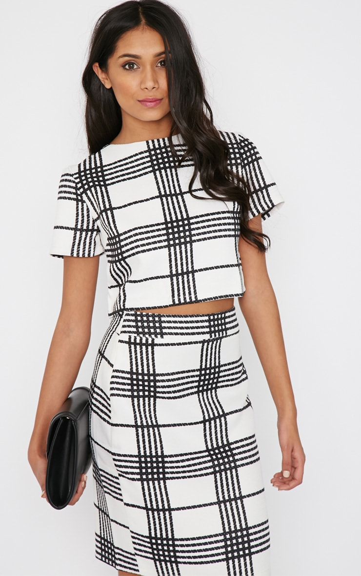 Jemma Monochrome Checked Crop Top  1