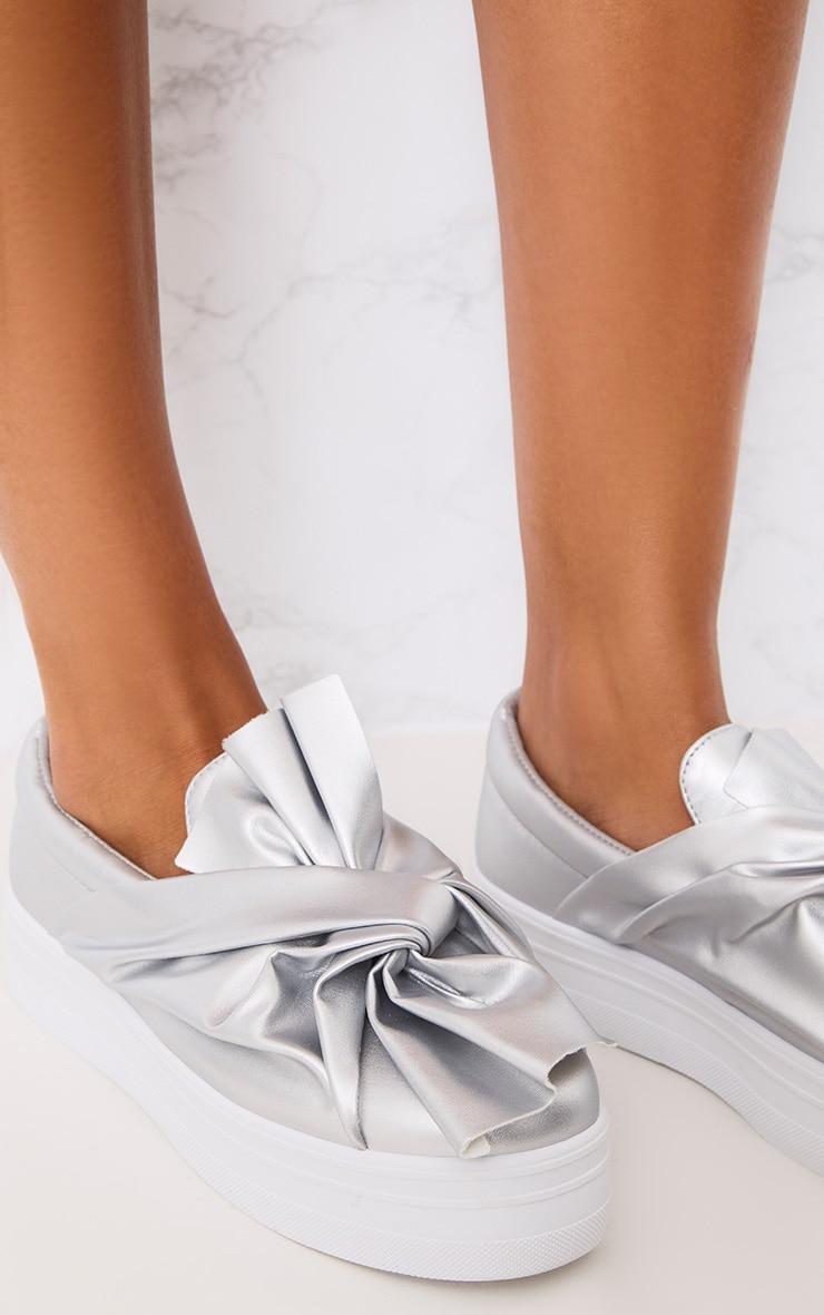 Wren Silver Bow Flatform Pumps  5