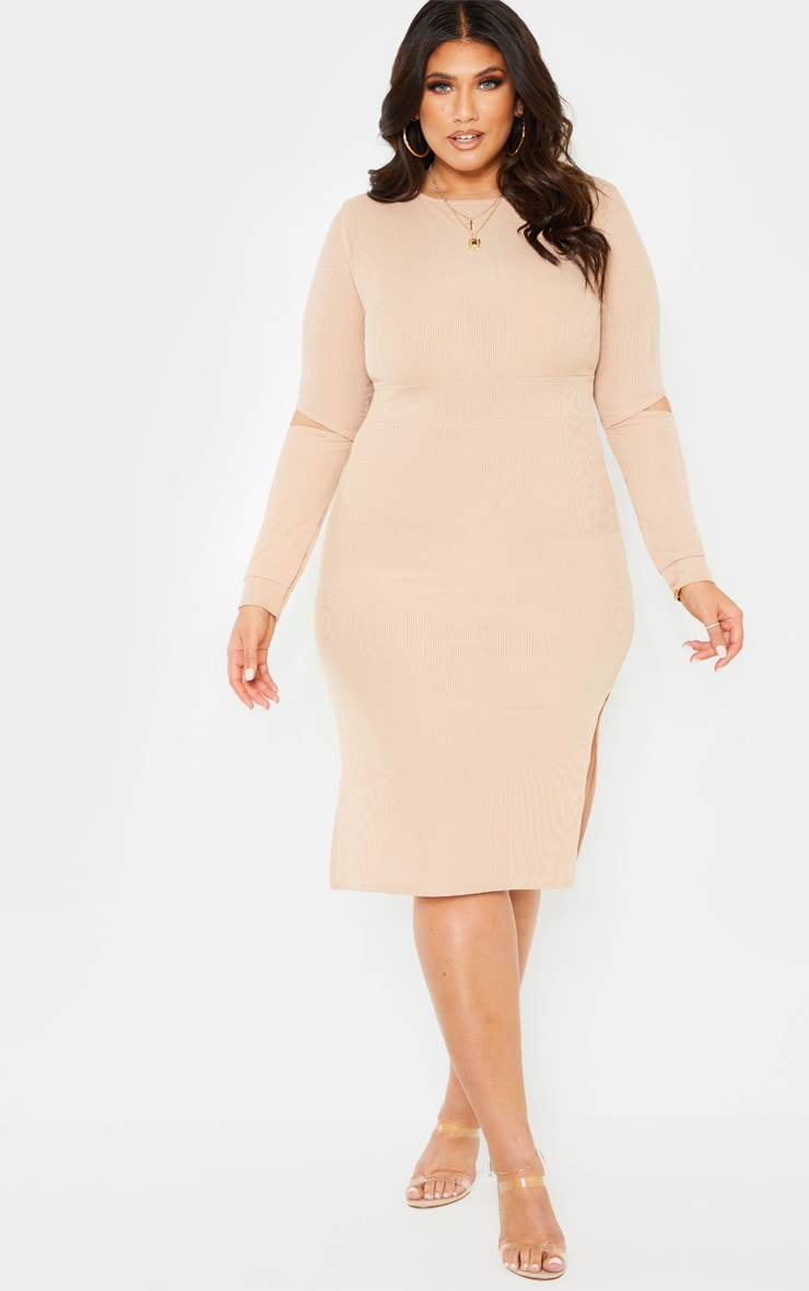 Plus Stone Ribbed Elbow Slit Midi Dress 4