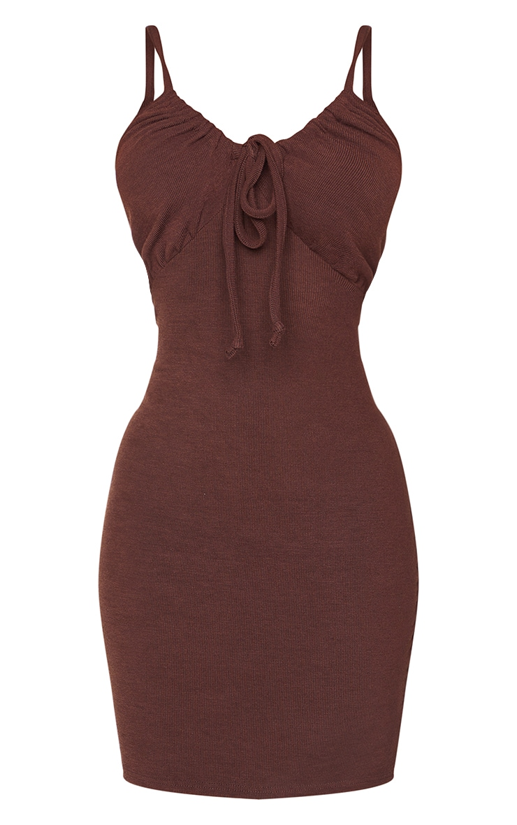 Petite Chocolate Strappy Ruched Rib Dress 5