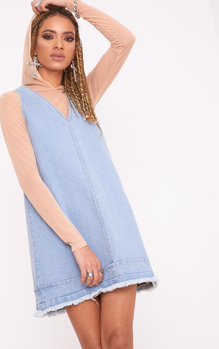 Rhada Light Wash V Neck Zip Back Denim Dress 1
