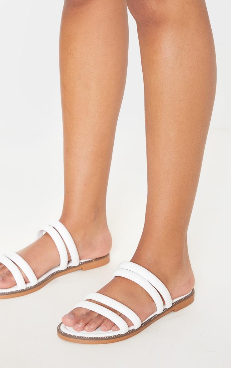White Tube Strappy Mule Flat Sandal 2