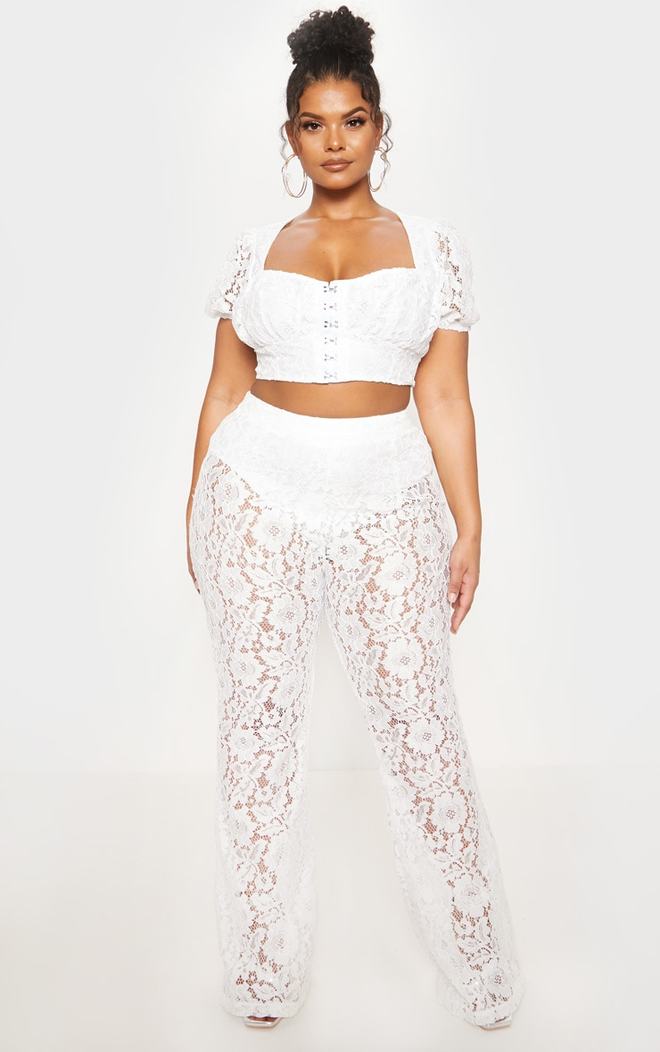 White Lace Sheer Flare Leg Trousers