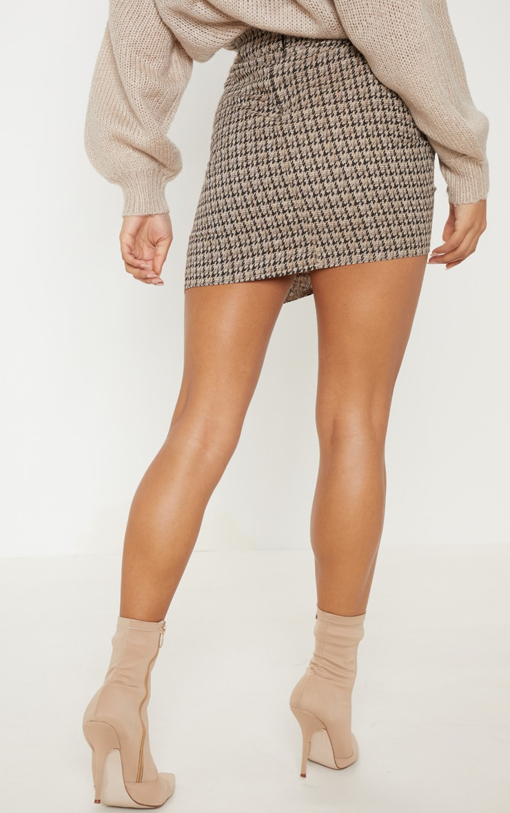 Black Dogtooth Check Ruched Detail Mini Skirt  4