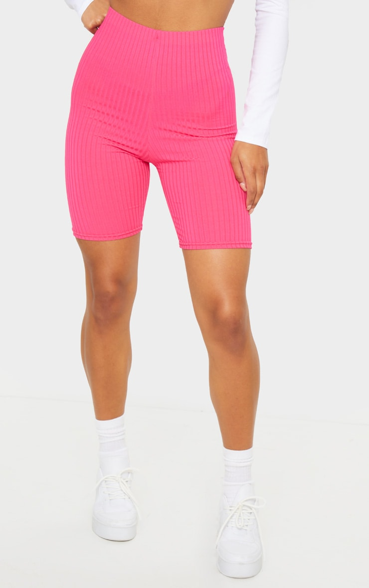 Hot Pink Ribbed Bike Shorts 2
