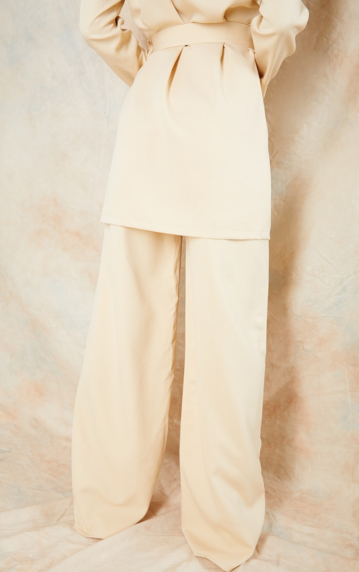 Stone Woven Seam Front Tailored Wide Leg Pants 3