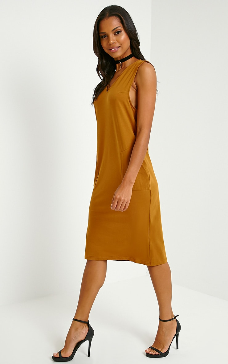 Raine Dark Mustard V Front T-Shirt Dress 4