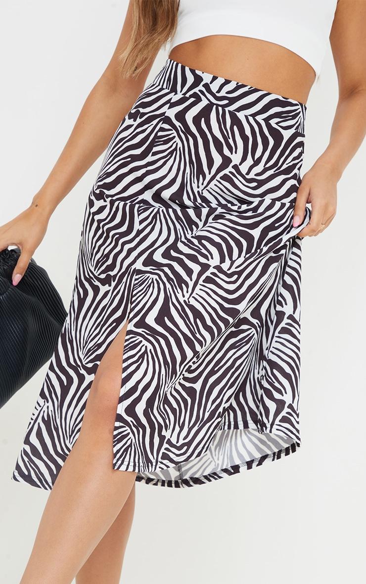 Monochrome Zebra Print Floaty Midi Skirt 4