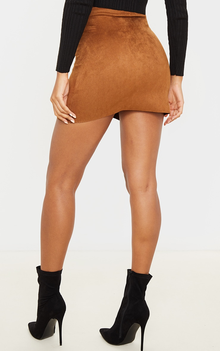 Brown Faux Suede Zip Detail A Line Skirt 4