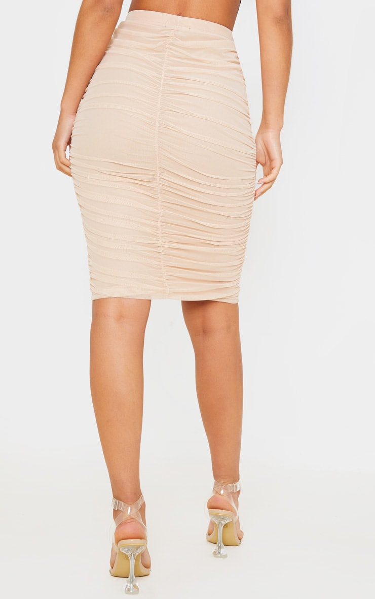 Nude Mesh Ruched Midi Skirt 4