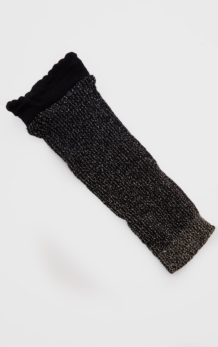 Black Textured Glitter Fishnet Ankle Socks 3