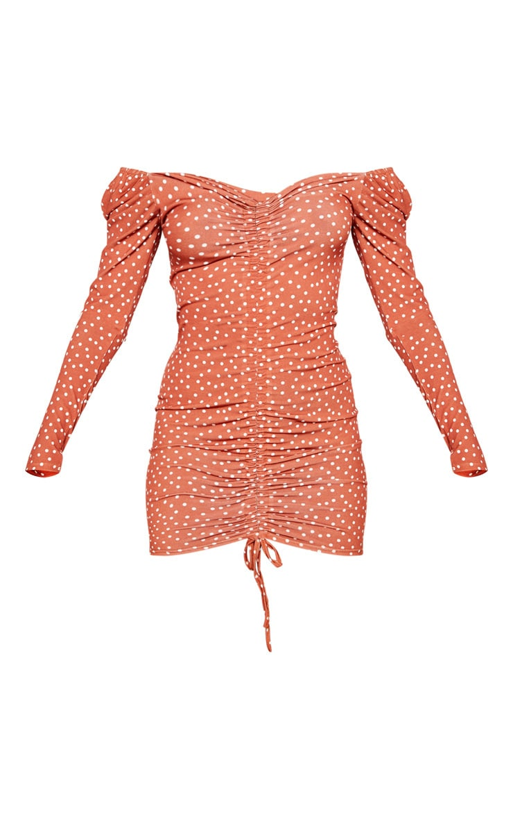 Recycled Terracotta Polka Dot Print Ruched Front Long Sleeve Bodycon Dress 5