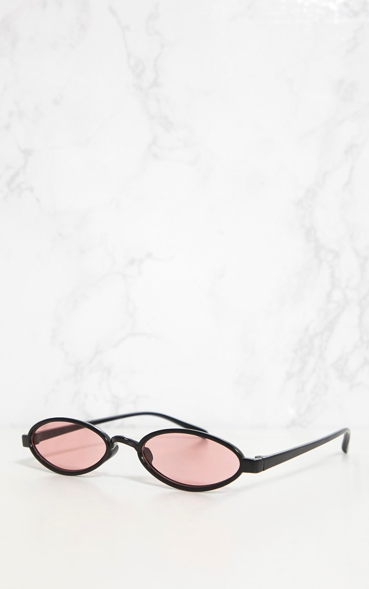 Pink Lens Small Oval Sunglasses 3