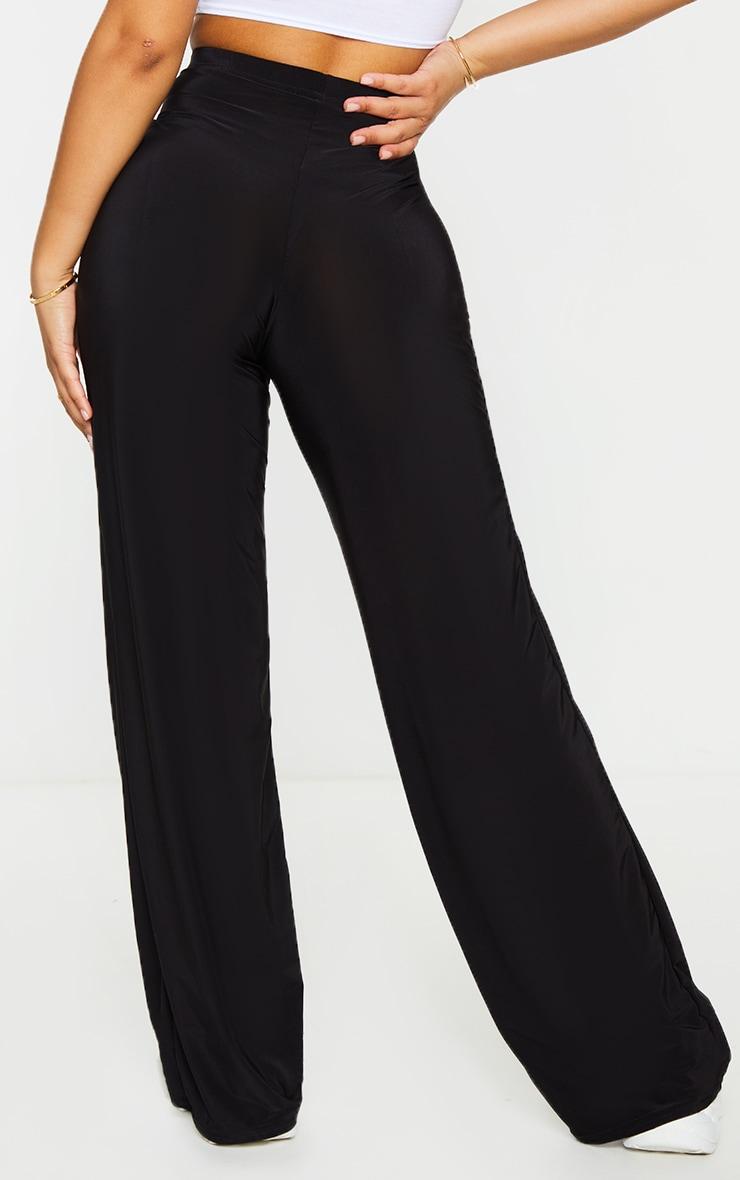 Petite Kyleigh Black Slinky Straight Leg Trouser 3