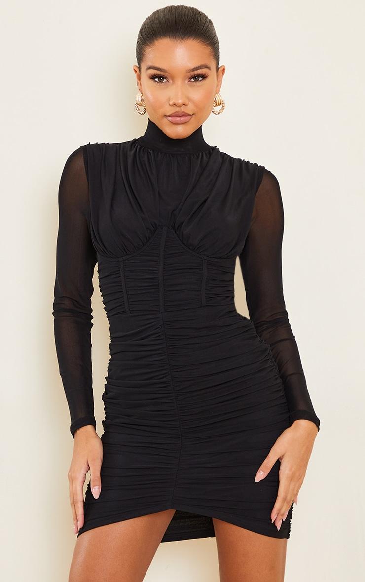 Black High Neck Mesh Ruched Binding Detail Bodycon Dress 1