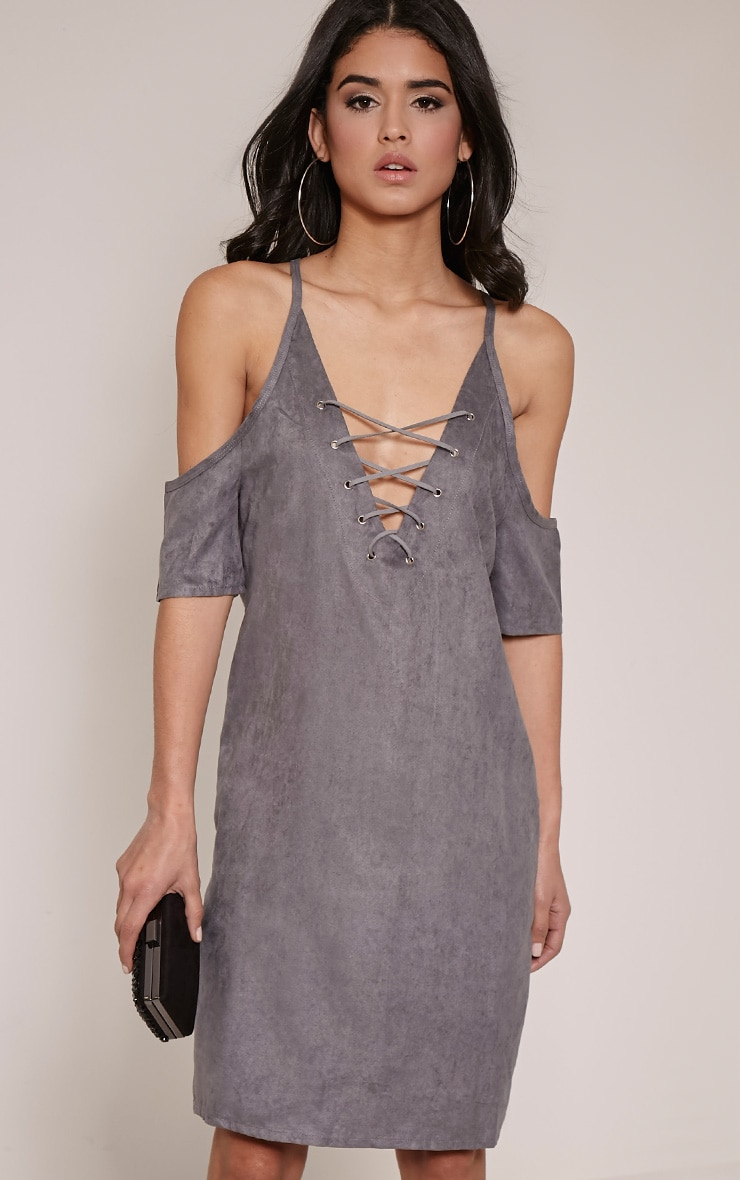 Noley Grey Lace Up Cold Shoulder Dress 1