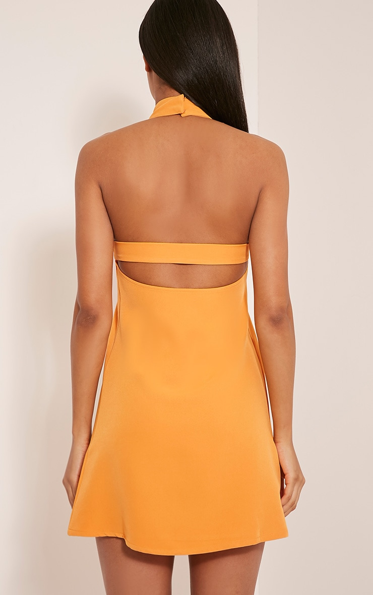 Hamza Bright Orange Ring Detail Backless Shift Dress 2
