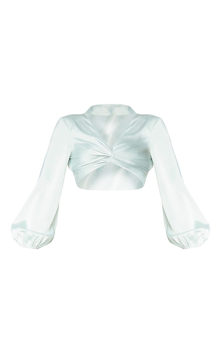 Sage Green Satin High Neck Twist Front Backless Blouse 5