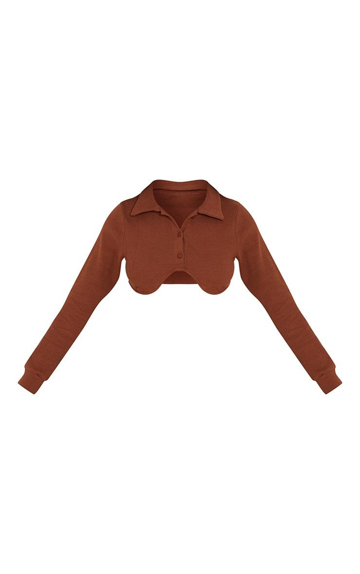 Chocolate Long Sleeve Collar Rib Crop Top 5
