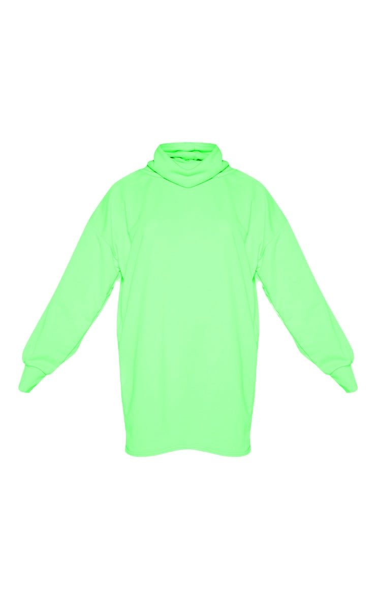 Lime Neon Oversized Sweat Roll Neck Jumper Dress 3