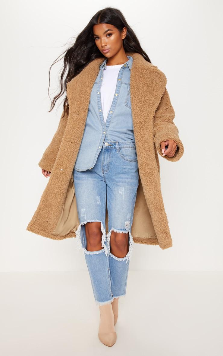 Manteau long camel en imitation peau de mouton