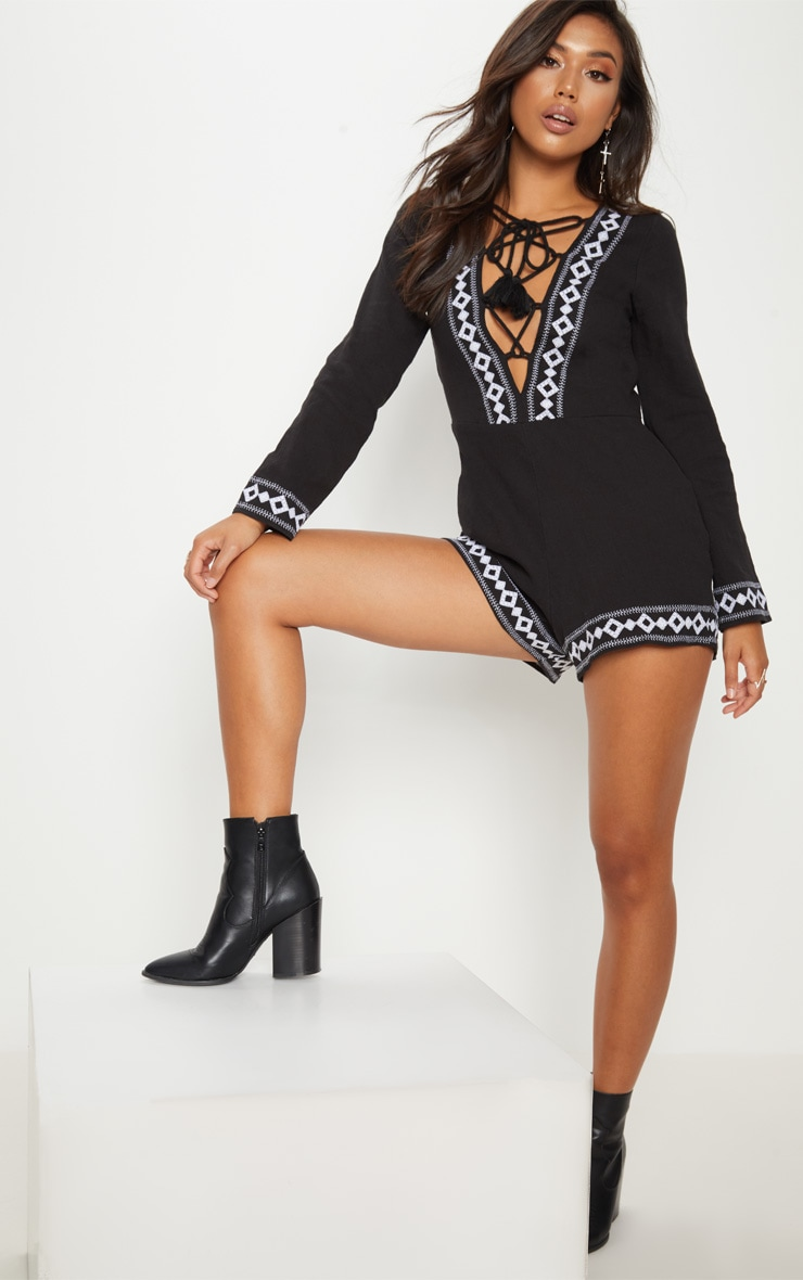Black Embroidered Long Sleeve Lace up Playsuit 1