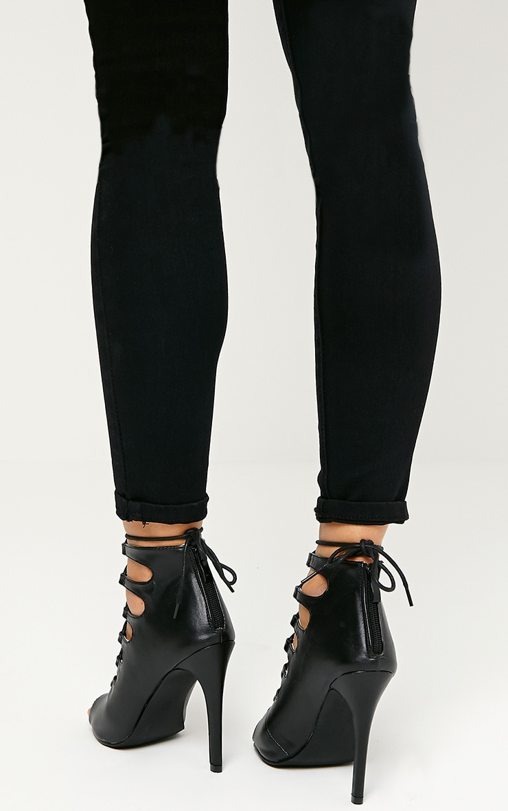 Tiggy Black Lace Up Heeled Sandals 2