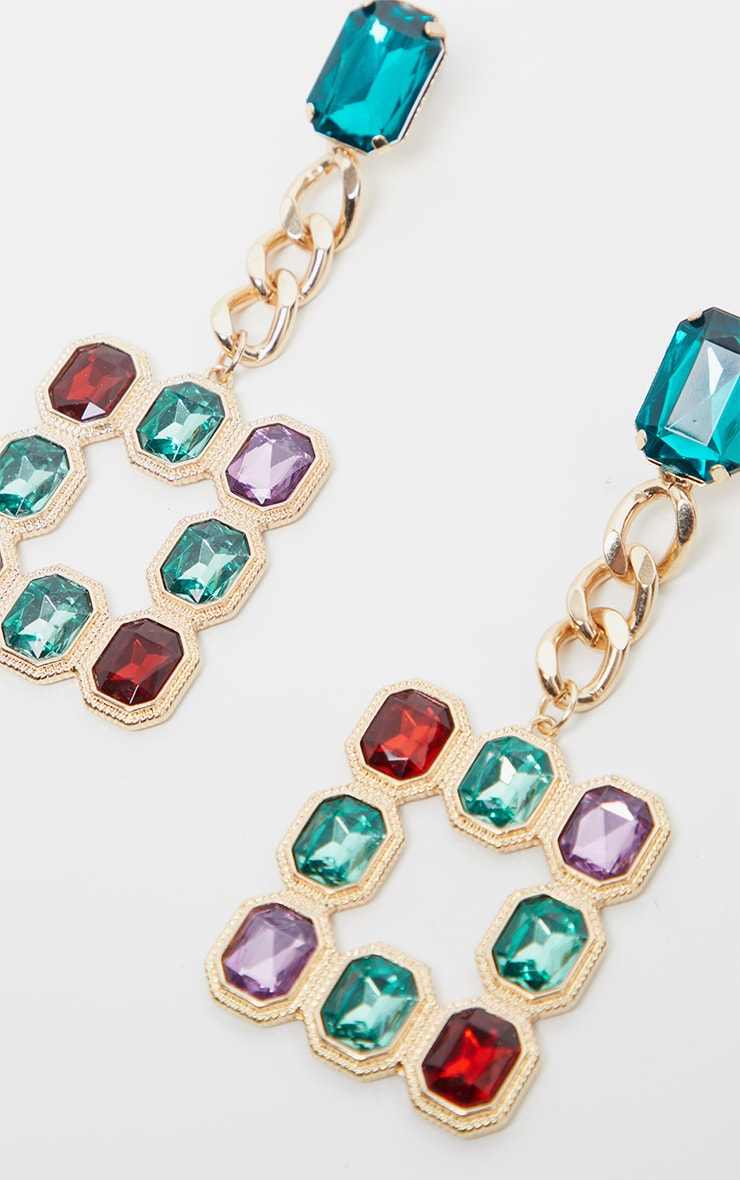 Multi Gemstone Square And Chain Drop Earrings 3