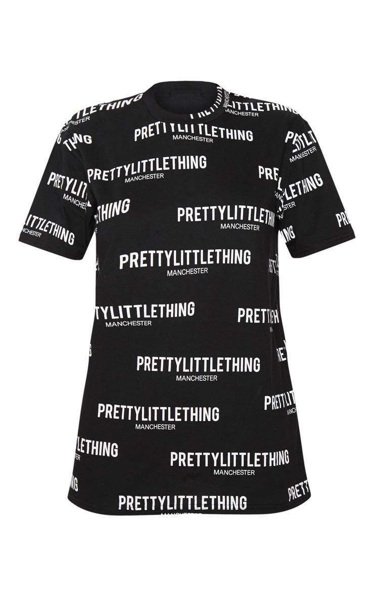 PRETTYLITTLETHING Black Manchester Slogan T Shirt  3