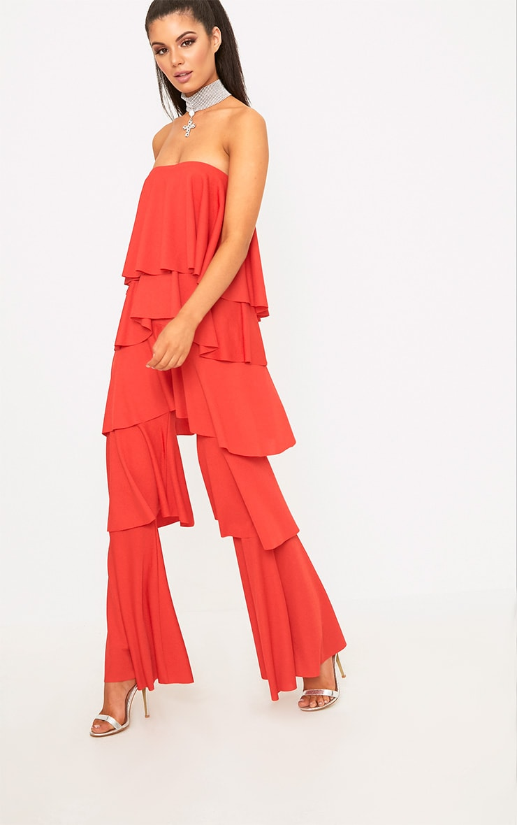 Red Bardot Frill Layer Detail Jumpsuit 1