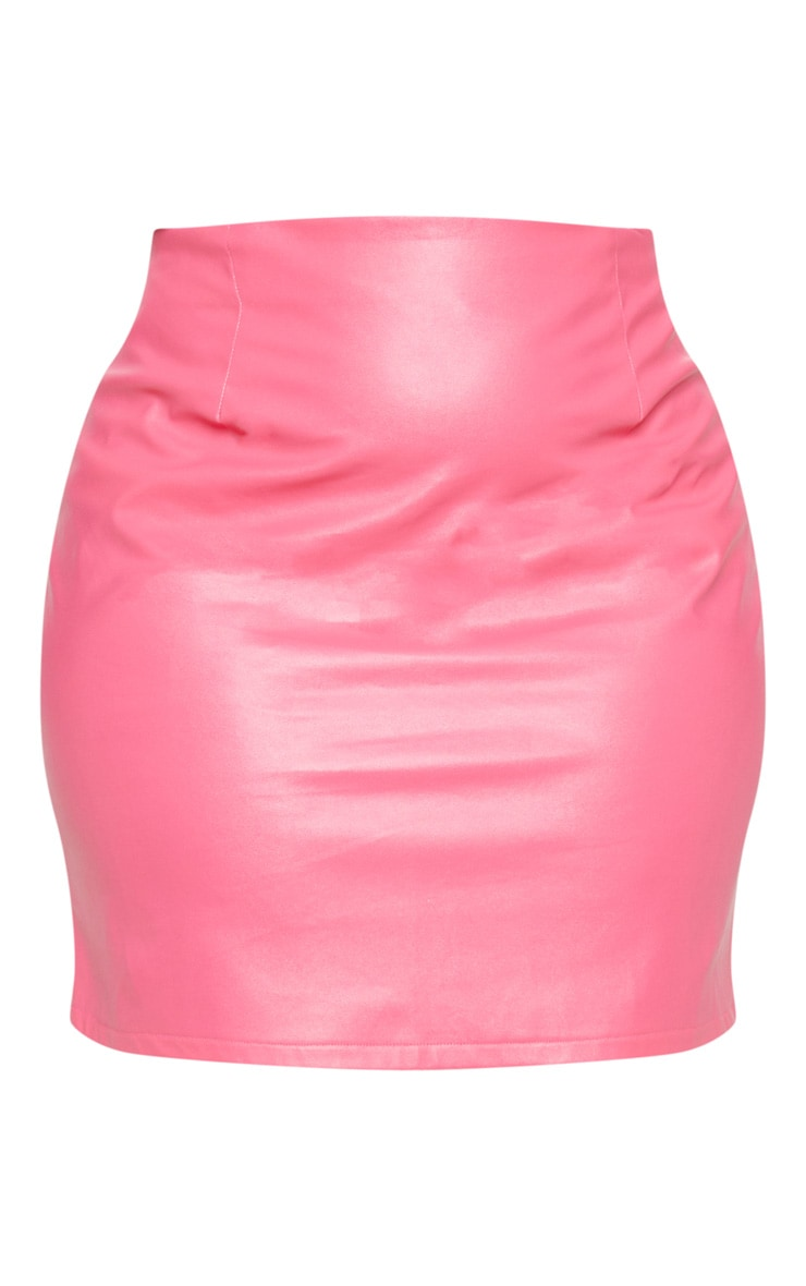 Plus Fuchsia PU Mini Skirt 3