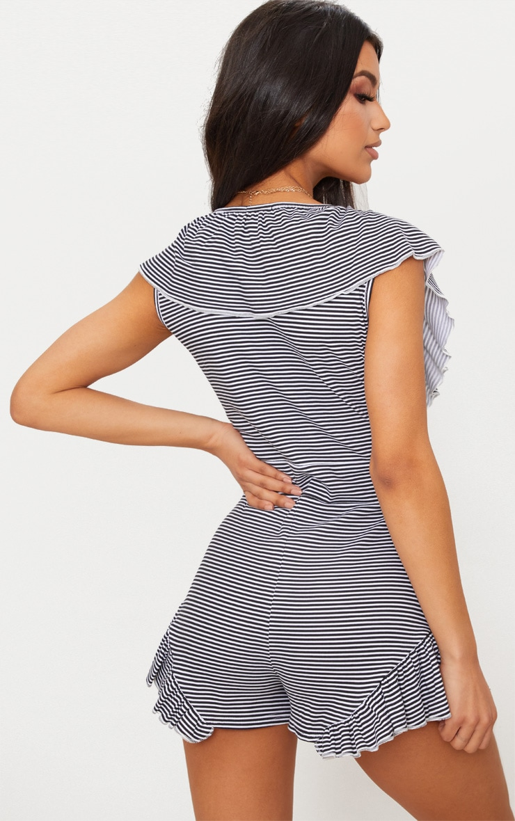 Black Striped Frill Playsuit 2