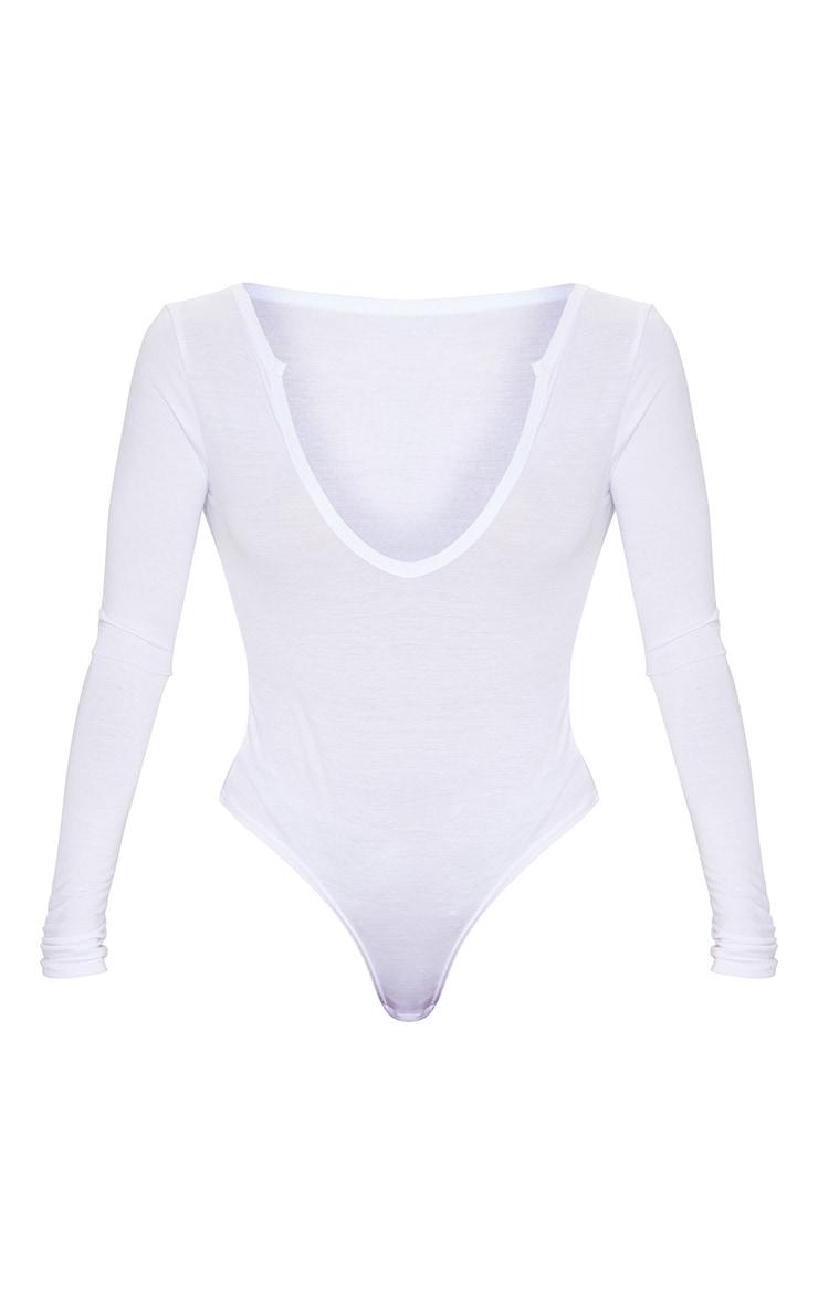 Basic White Cotton Blend Plunge Long Sleeve Bodysuit 5