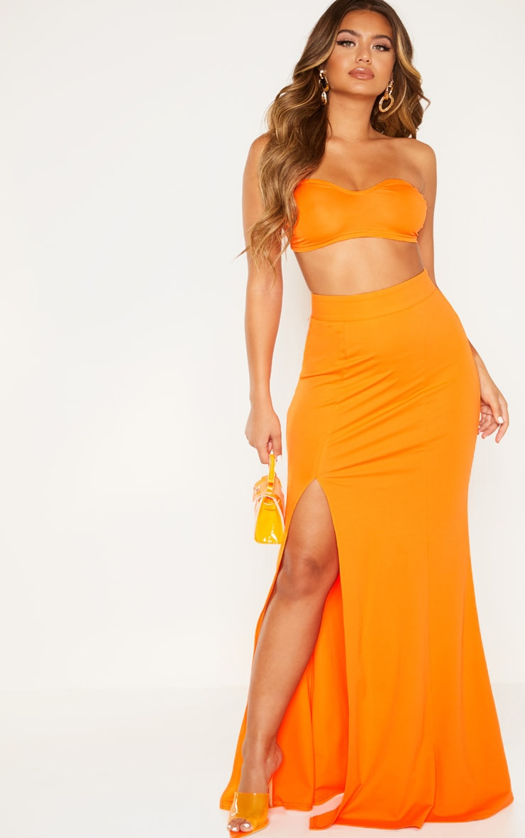 Orange Thigh Split Maxi Skirt 1