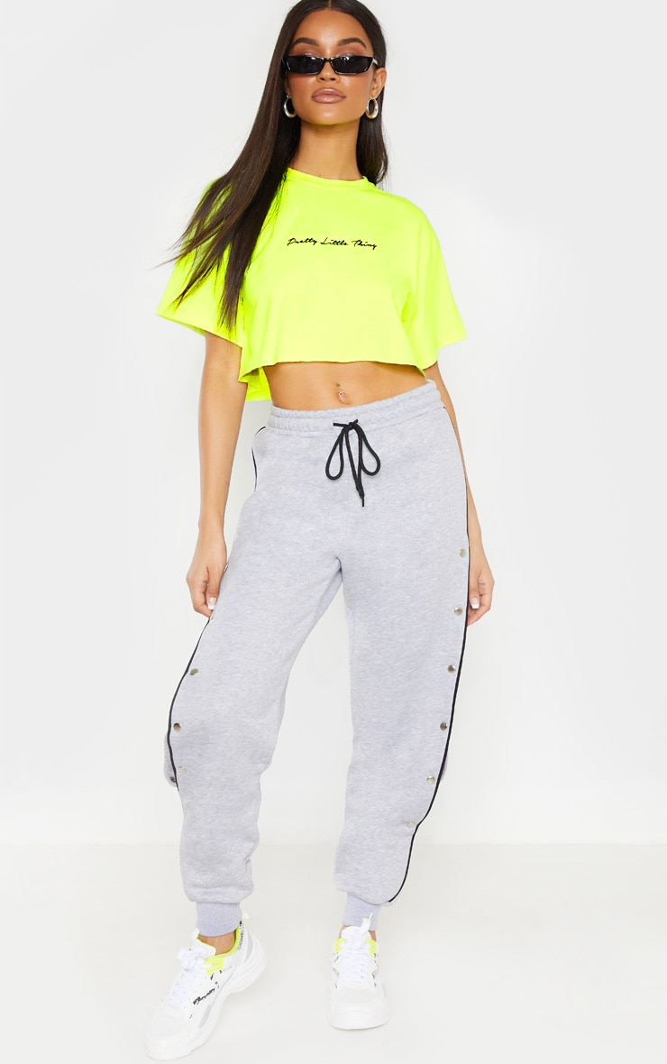 PRETTYLITTLETHING Neon Lime Embroidered Crop T Shirt 4