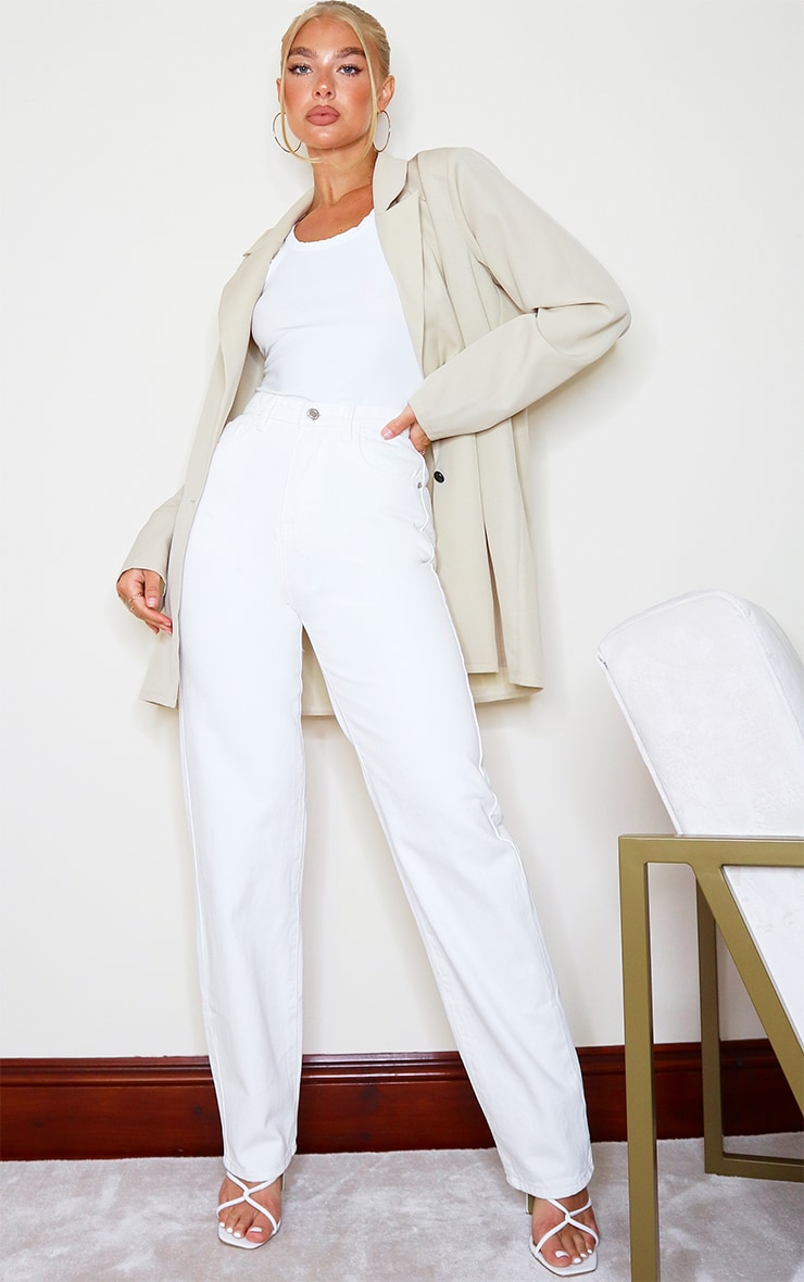 Off White High Waist Straight Leg Jean 1