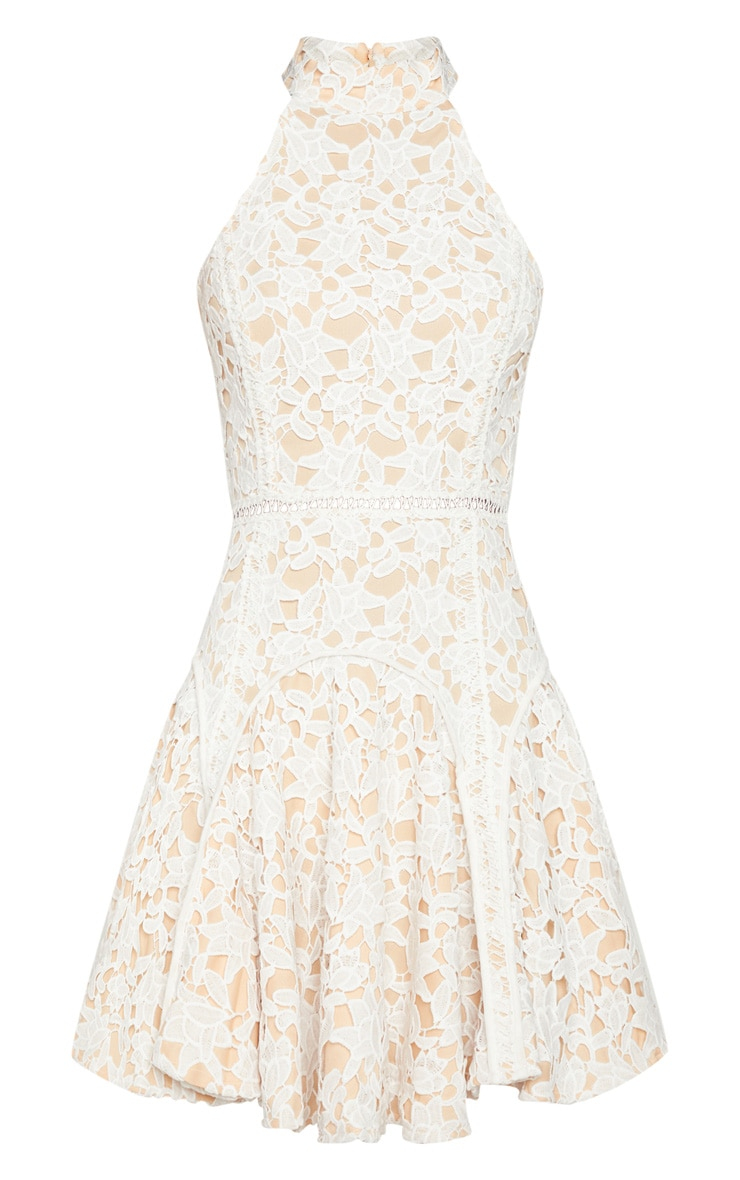 White Thick Lace High Neck Binding Detail Skater Dress 3