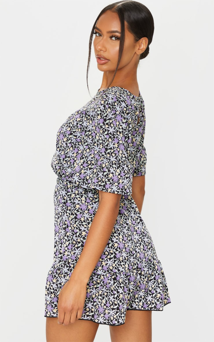 Black and Purple Ditsy Floral Print Tie Detail Dress 2