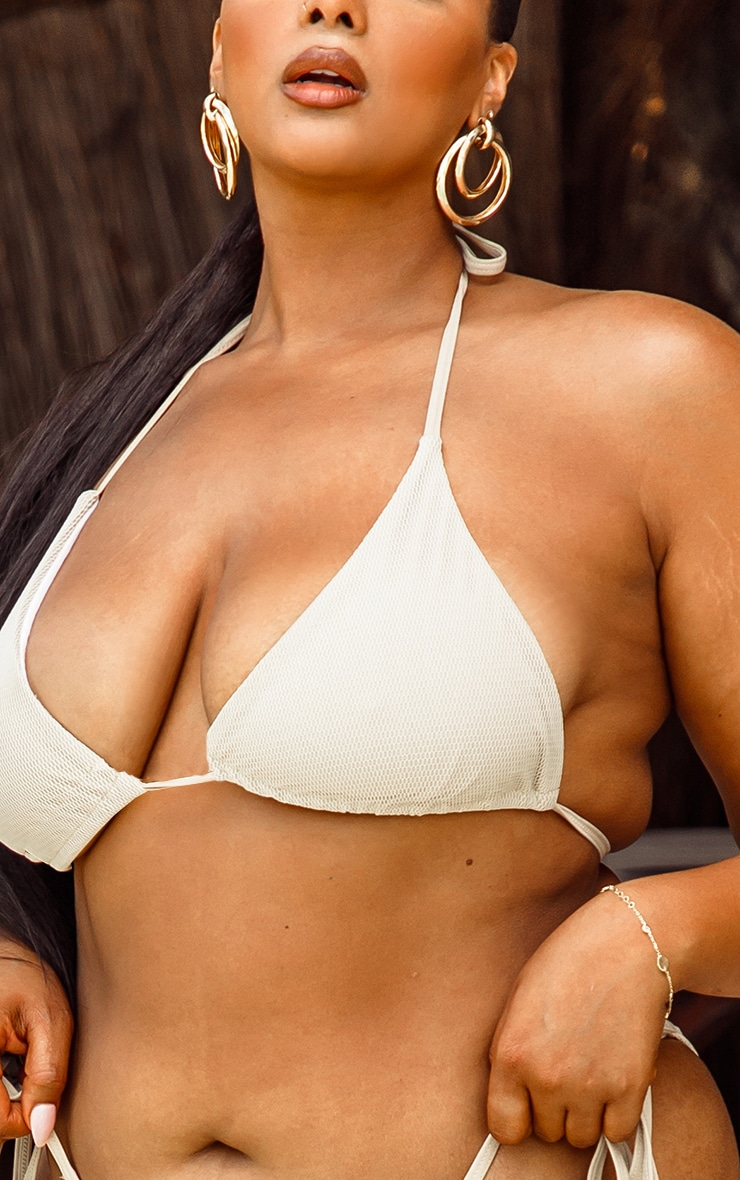 Plus Natural Net Textured Triangle Bikini Top 4