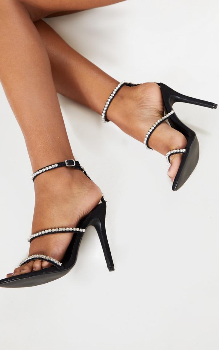 Black Triple Strap Diamante Sandal 3