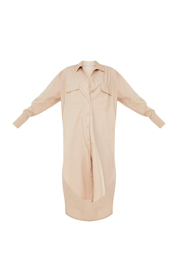 Stone Deep Pocket Drop Hem Midi Shirt Dress 5